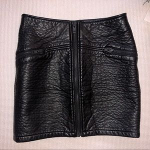 Faux Leather Zip front Leather Skirt